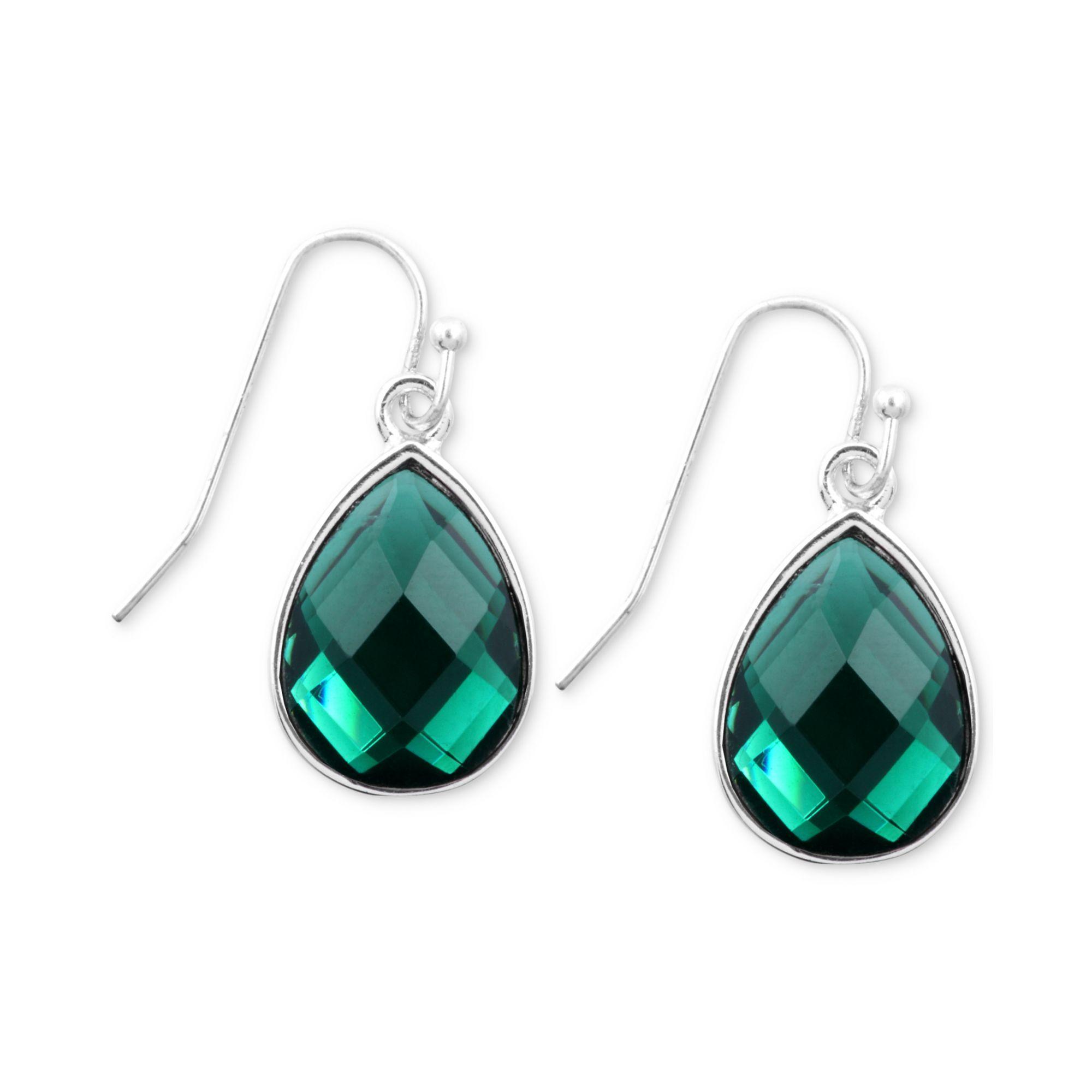 Nine West Silvertone Emeraldcolored Teardrop Crystal Drop