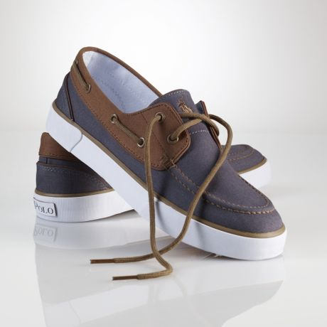 polo ralph lander canvas boat shoe in gray for