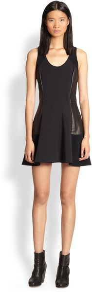 Rag & Bone Montrose Leather Panel Dress - Lyst
