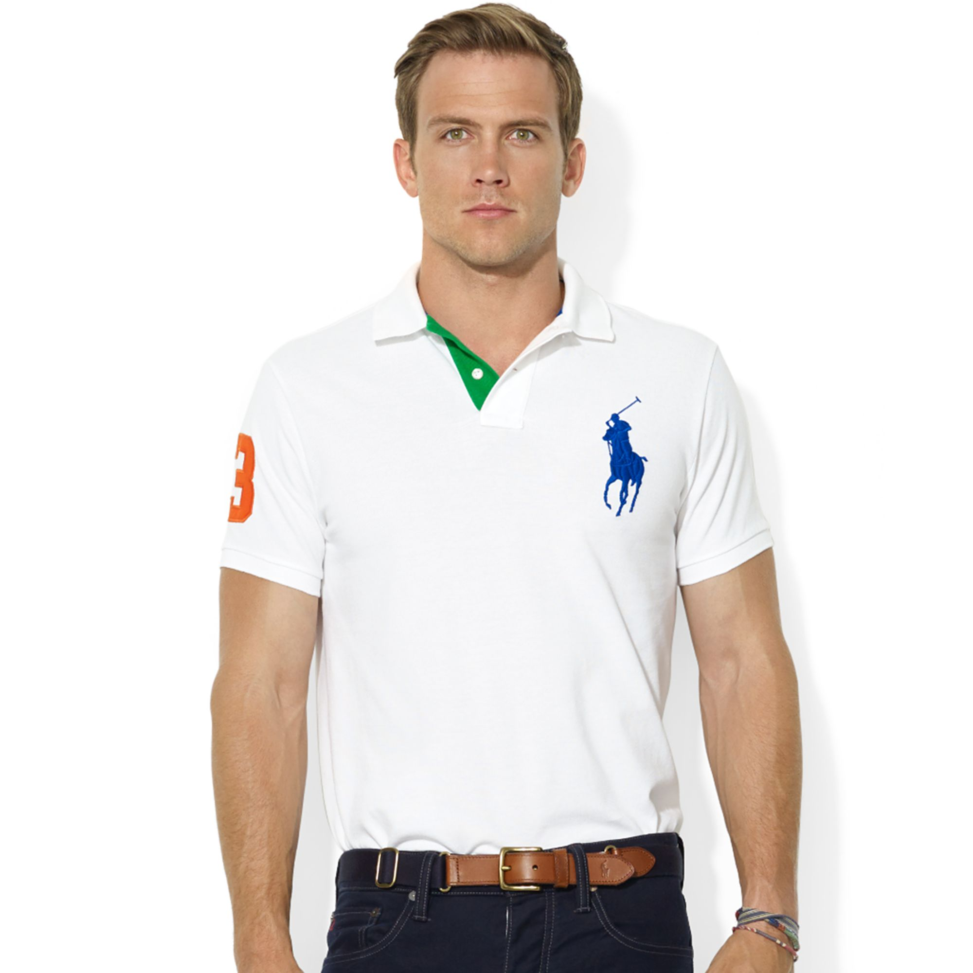 Ralph lauren Customfit Big Pony Mesh Polo in White for Men | Lyst