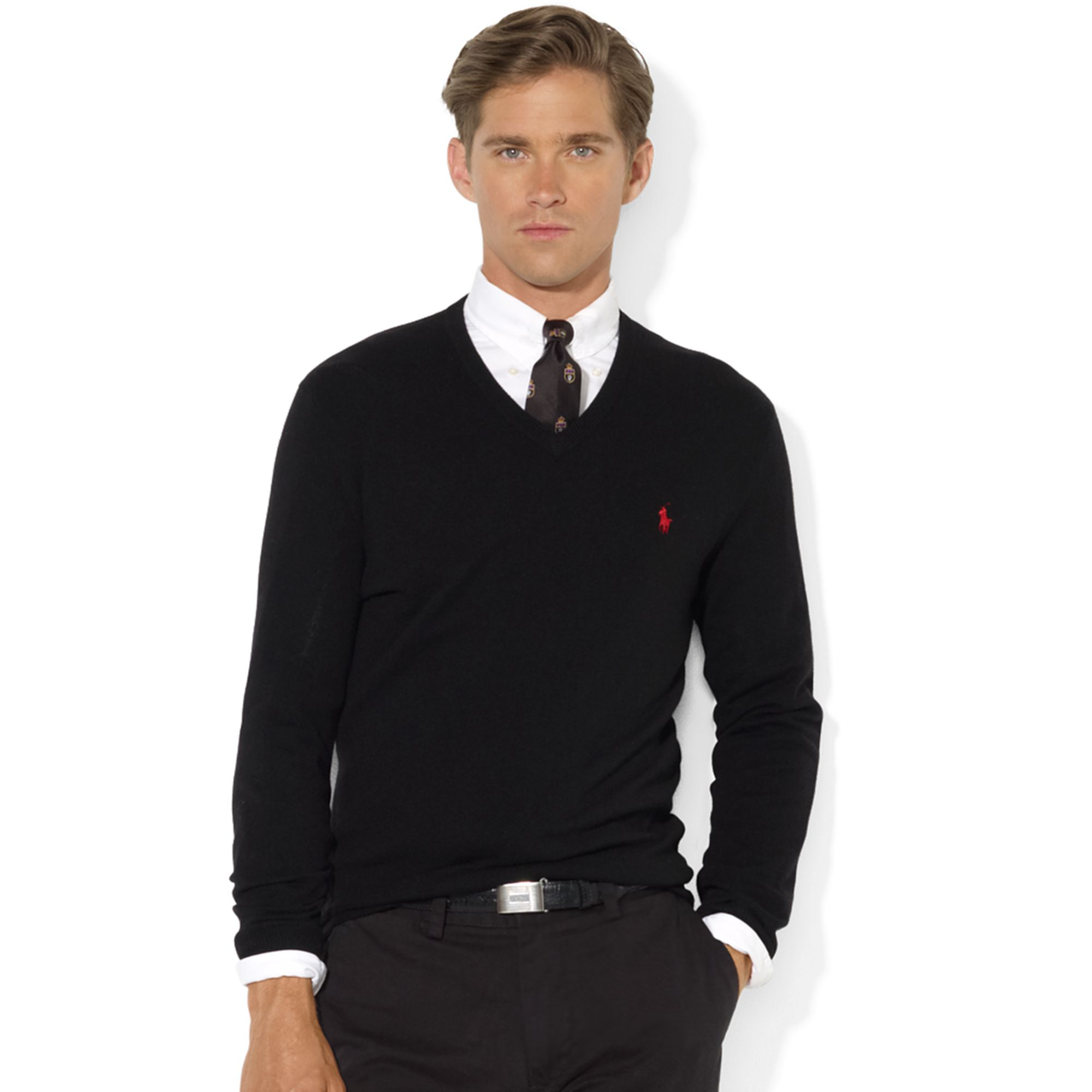 c3ae8ae8d4d13 Lyst - Ralph Lauren V-Neck Merino Wool Sweater in Black for Men