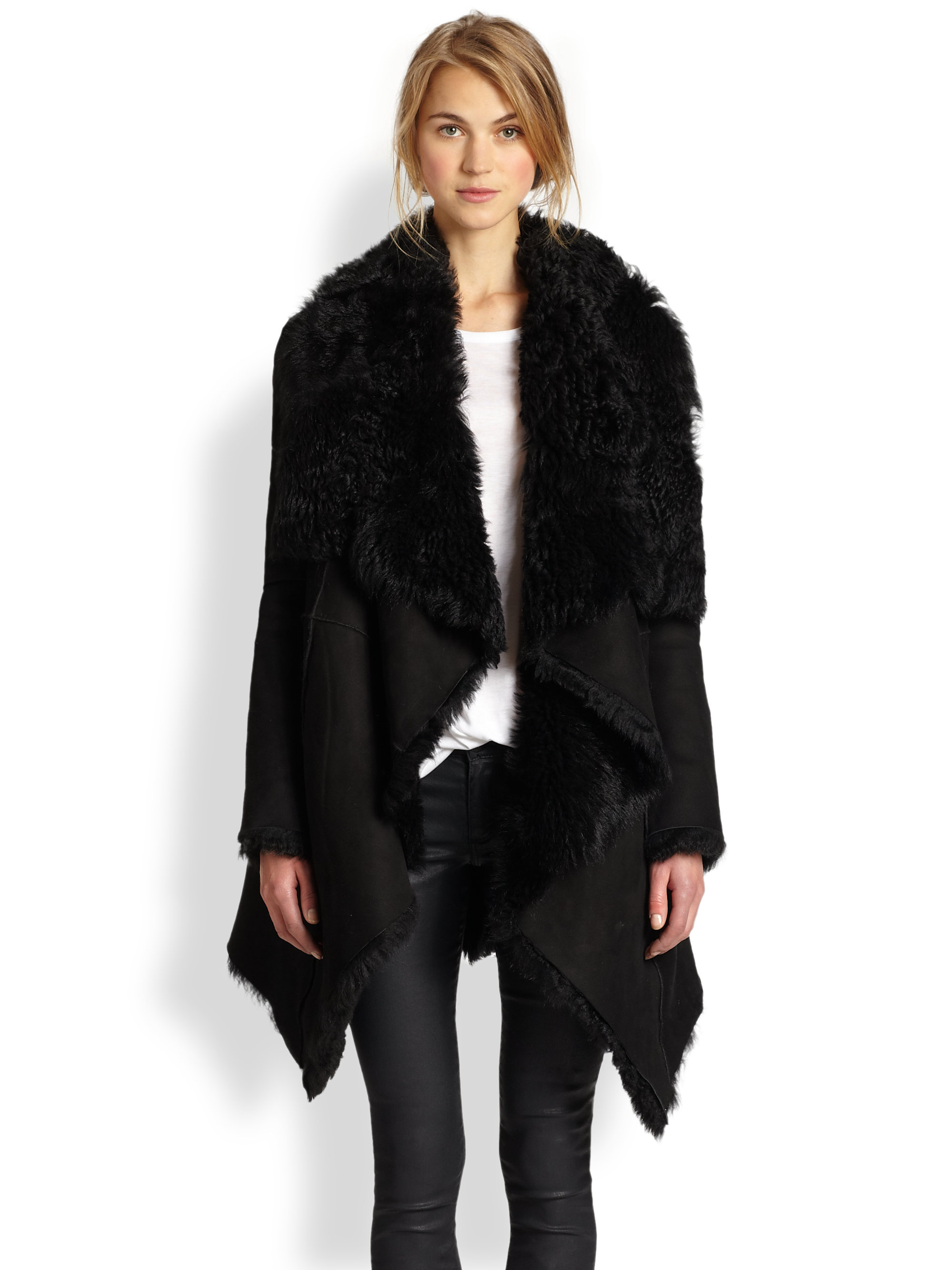 Rebecca minkoff Brody Suede Shearling Coat in Black | Lyst