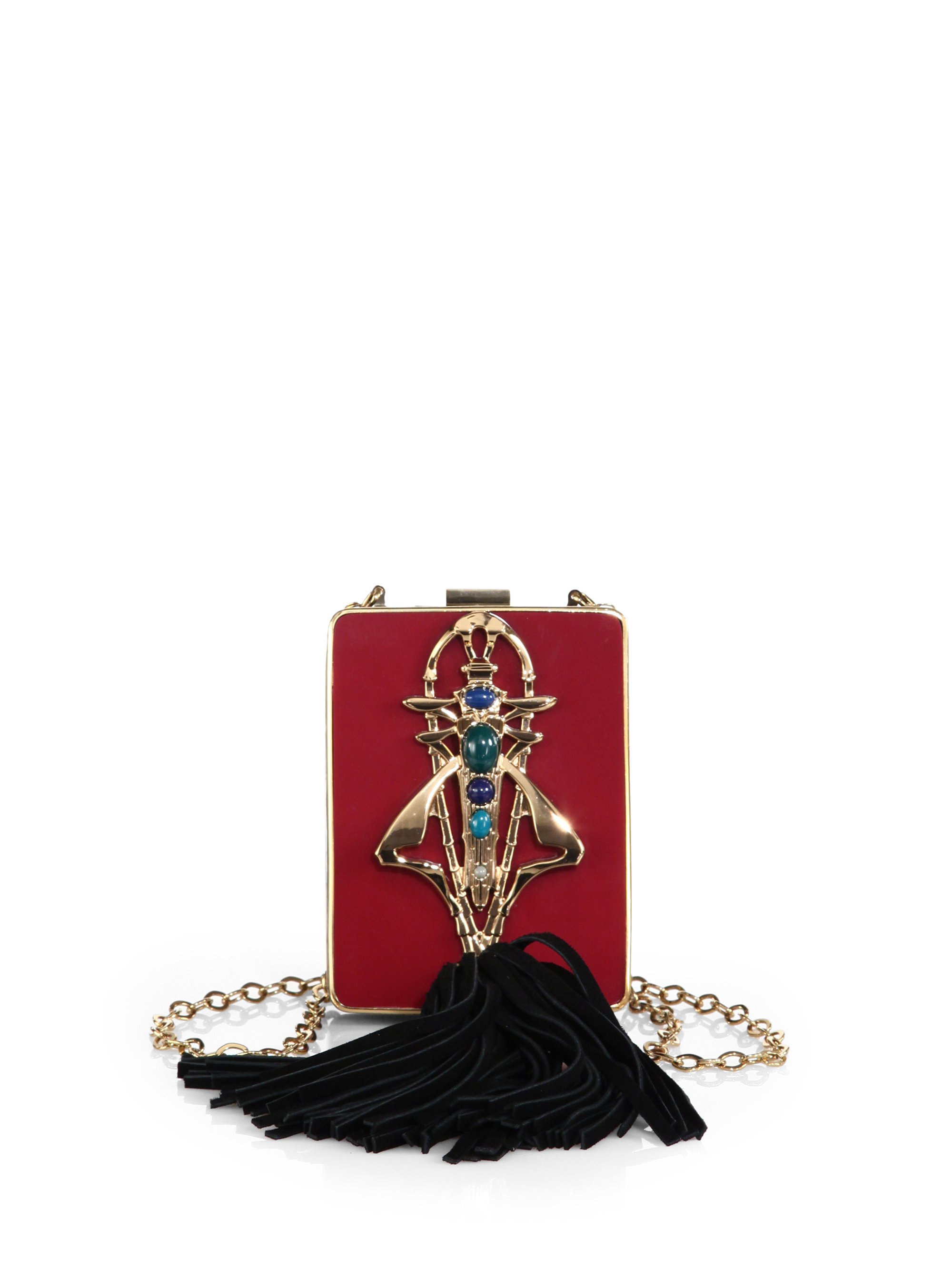 f3544eb011d Lyst - Tory Burch Adele Embellished Resin Chain Minaudiere in Red