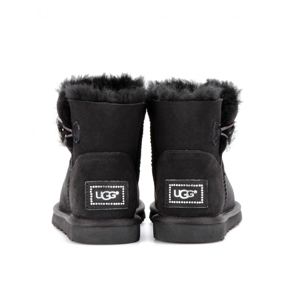 ugg mini bailey button bling boots in black lyst rh lyst ca