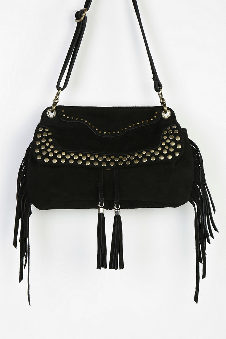 outfitters ecote studded suede fringe crossbody bag