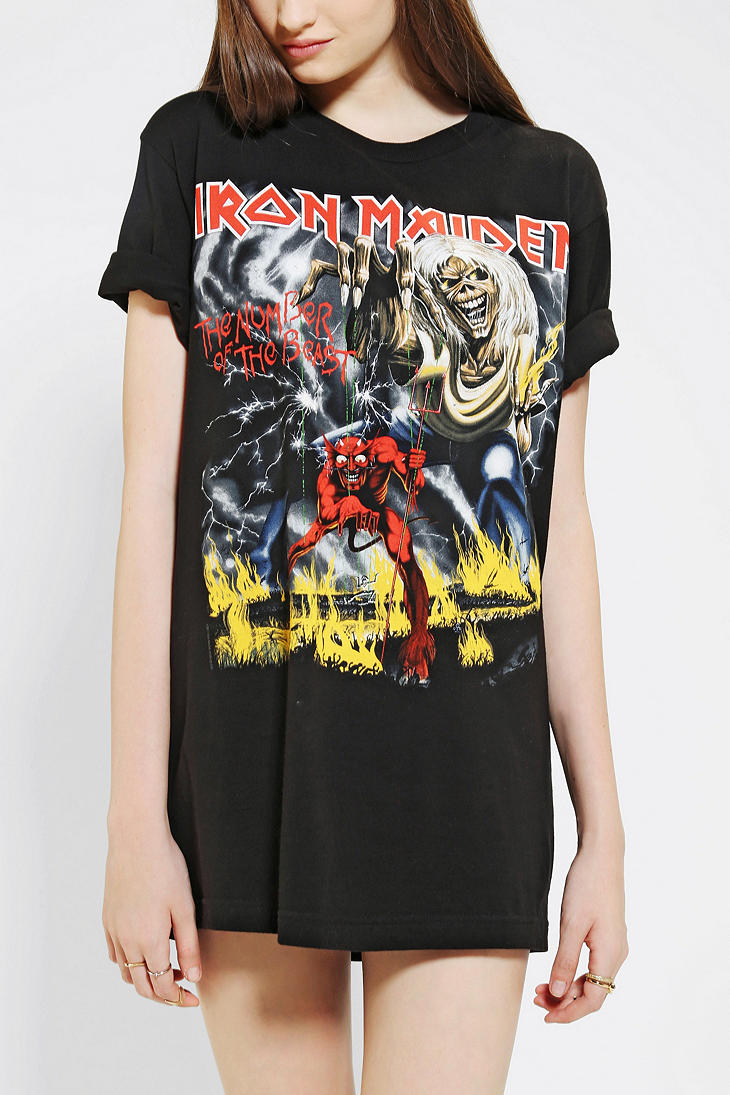 6d67825a Urban Outfitters Iron Maiden Tee in Black - Lyst