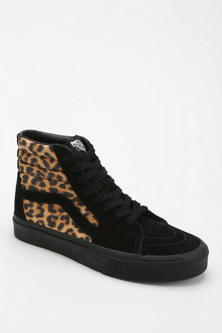 urban outfitters vans sk8 hi leopard print women 39 s high top sneaker in animal black multi lyst. Black Bedroom Furniture Sets. Home Design Ideas