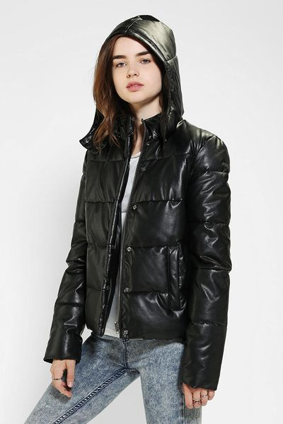 Urban Outfitters Sparkle Fade Missy Vegan Leather Puffer