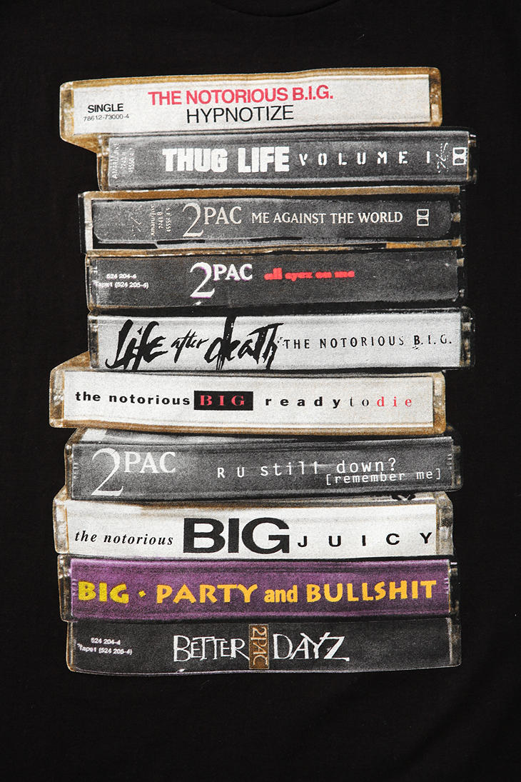 Urban Outfitters Tupac And Biggie Tapes Tee In Black For