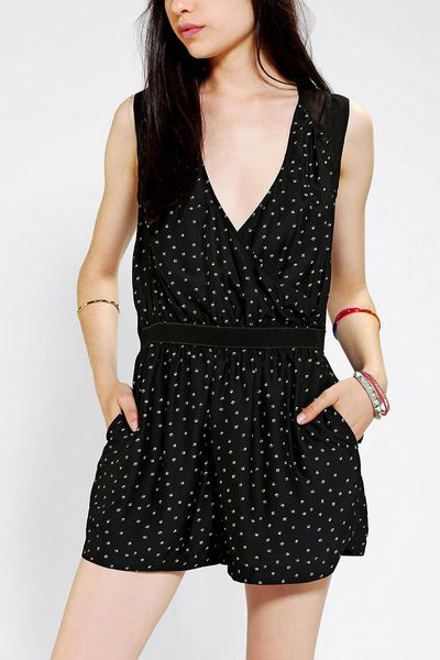 Urban Outfitters Silence Noise Silky Sheer Romper in Black ...