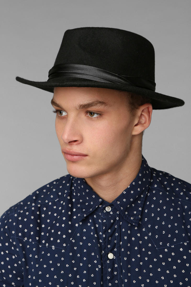 e387f591f40 Lyst urban outfitters wide brim felt fedora in black for men jpg 730x1095 Urban  hats men