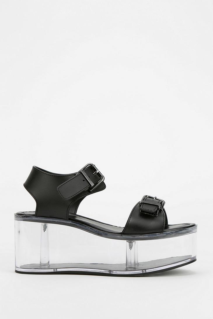 017ae6a9127 Lyst - Urban Outfitters Yru Qloud Clear Platform Sandal in Black