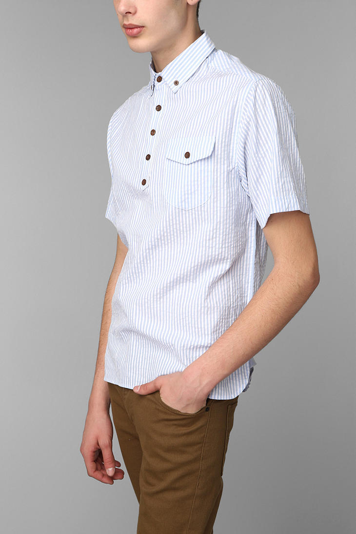 Urban outfitters brooklyn cloth seersucker popover shirt for Mens seersucker shirts on sale