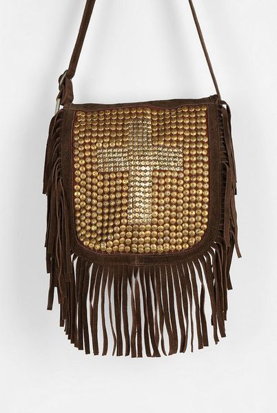 outfitters ecote sequin cross suede fringe crossbody