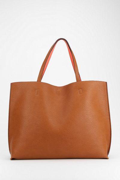 85ea8118be388 Reversible Vegan Leather Oversized Tote Bag in Pink (BROWN) - Lyst