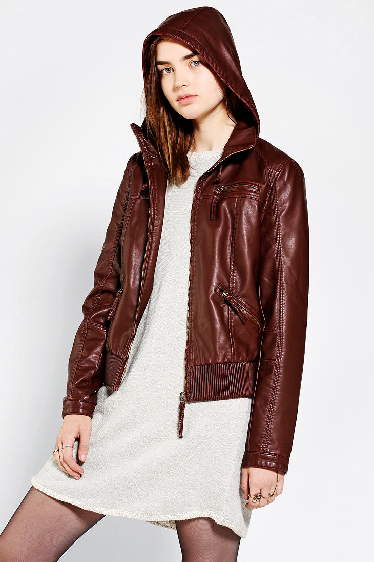 Leather jacket urban outfitters - Hooded Leather Jacket Urban Outfitters
