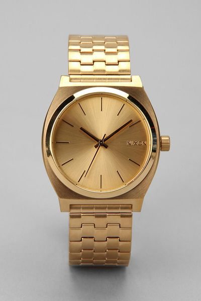 nixon metal time teller in gold for lyst