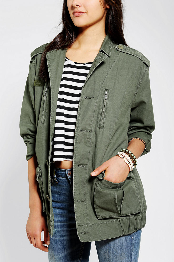 Lyst Urban Outfitters Bdg Eaglestudded Surplus Jacket In