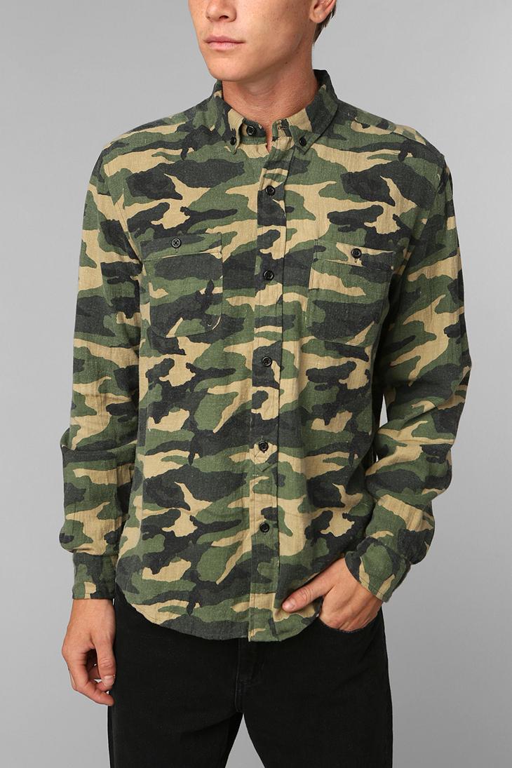 Urban Outfitters Stapleford Camo Flannel Buttondown Shirt