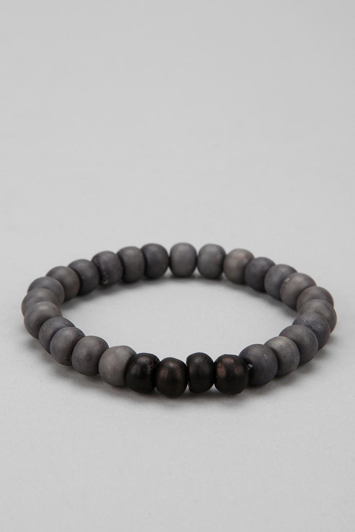 Urban Outfitters Wooden Bead Bracelet In Gray For Men