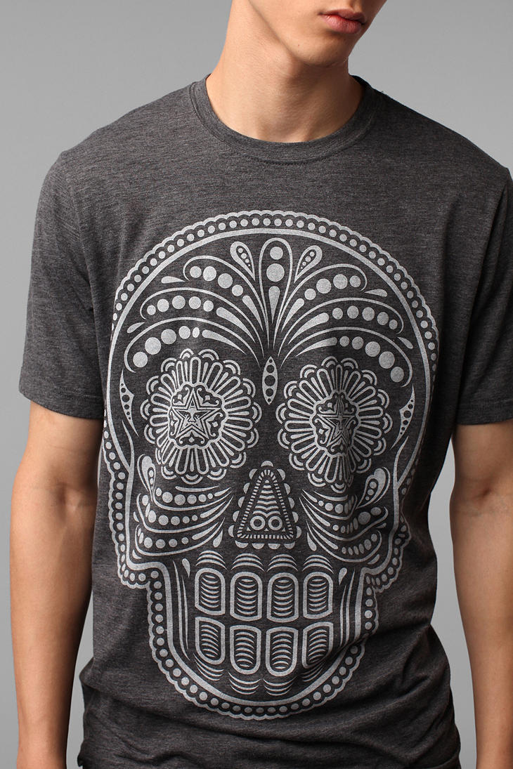 urban outfitters obey dia de los muertos tee in gray for. Black Bedroom Furniture Sets. Home Design Ideas