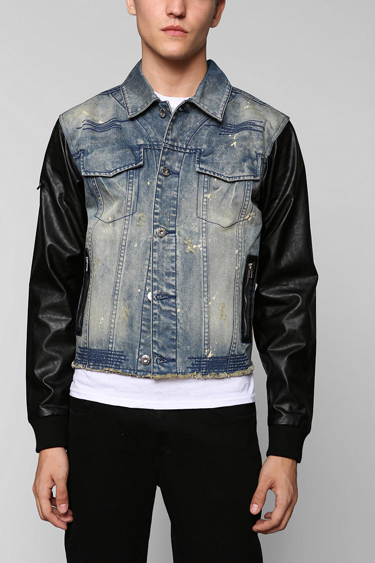 Denim jacket leather sleeves