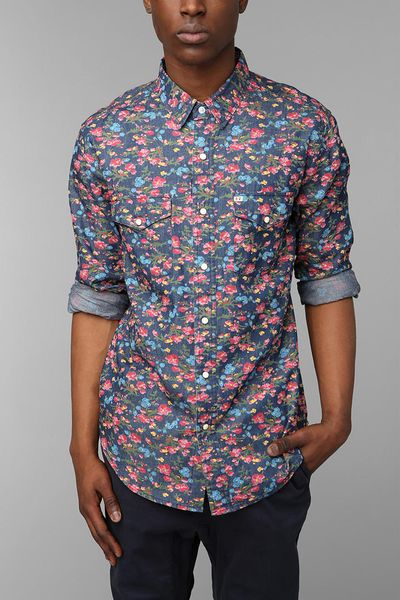 Urban outfitters salt valley smoky floral western shirt in for Floral mens t shirts