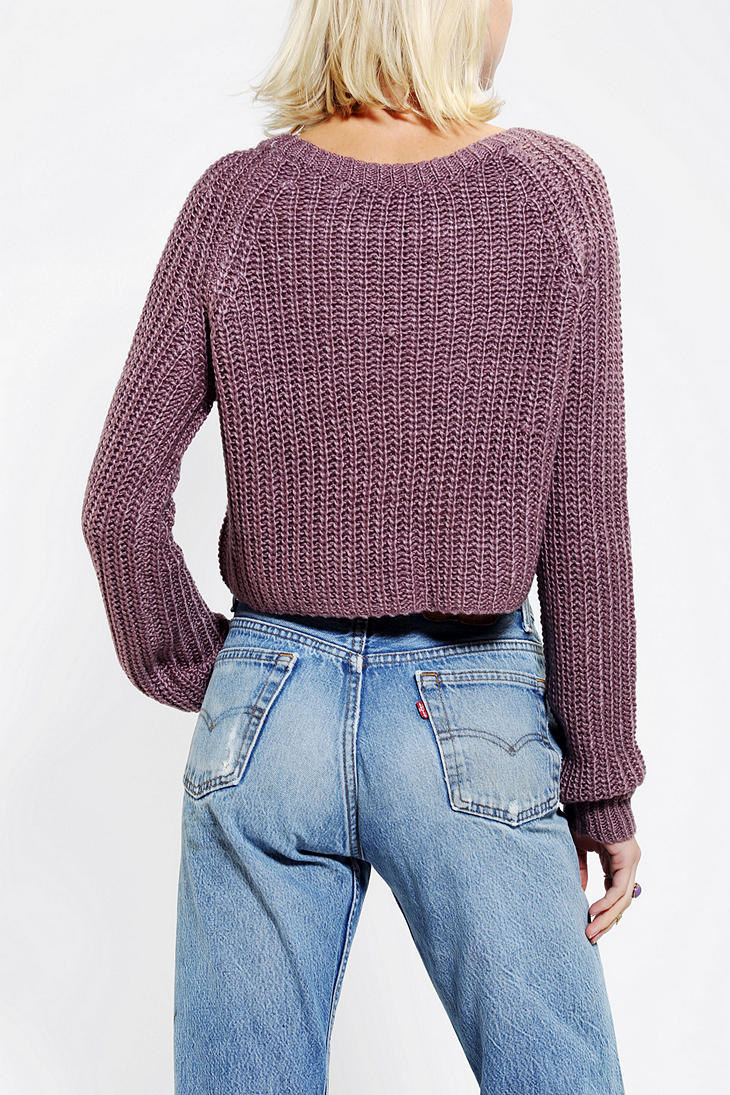 Urban outfitters Kimchi Blue Shaker Cropped Sweater in Purple | Lyst
