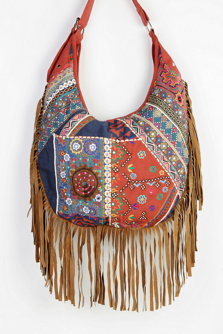 Suede Hobo Bag With Fringe Bags More