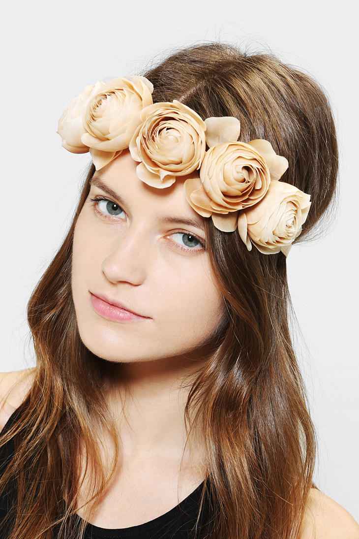 Lyst urban outfitters large flower crown headwrap in natural gallery izmirmasajfo