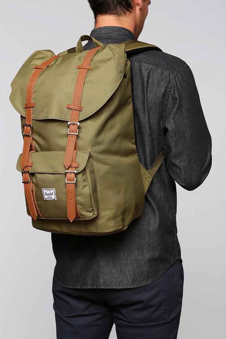 lyst herschel supply co little america backpack in green. Black Bedroom Furniture Sets. Home Design Ideas