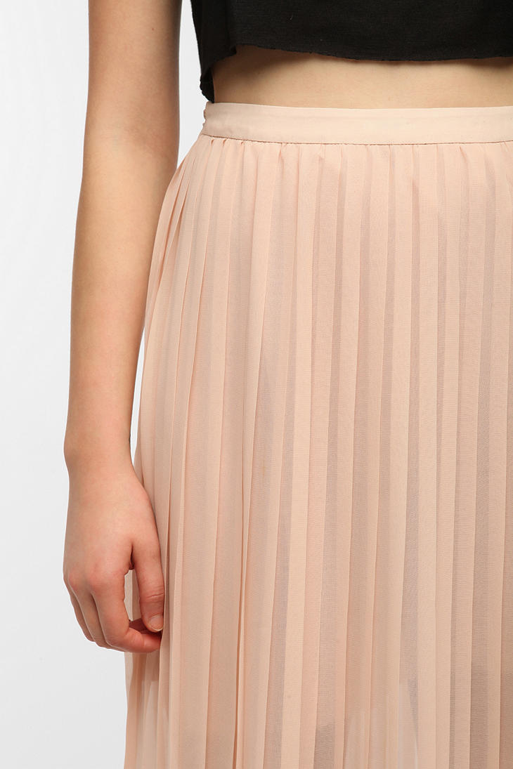 Urban outfitters Sparkle Fade Pleated Chiffon Maxi Skirt in Pink ...