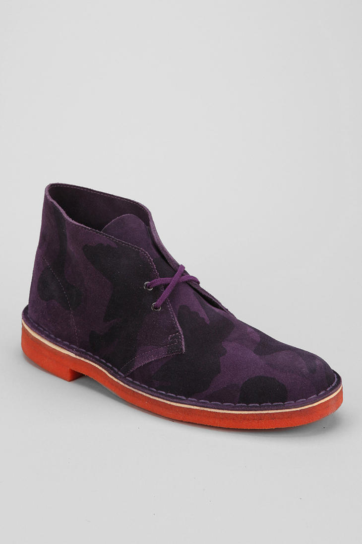 Lyst Urban Outfitters Clarks Camo Desert Boot In Purple