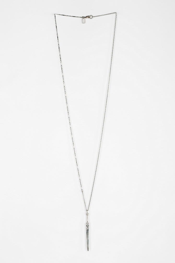 Lyst urban outfitters silver sword necklace in metallic gallery aloadofball Images