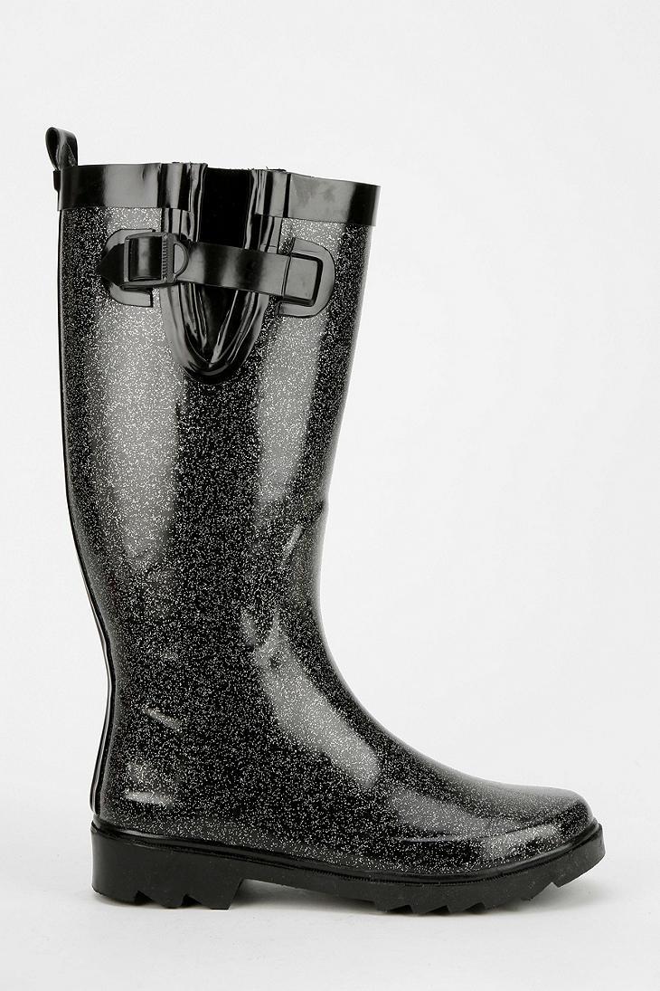 Urban outfitters Capelli Glitter Rain Boot in Black | Lyst