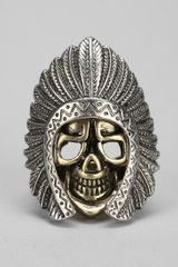 Urban Outfitters Ransom Bond Skull and Feather Ring - Lyst