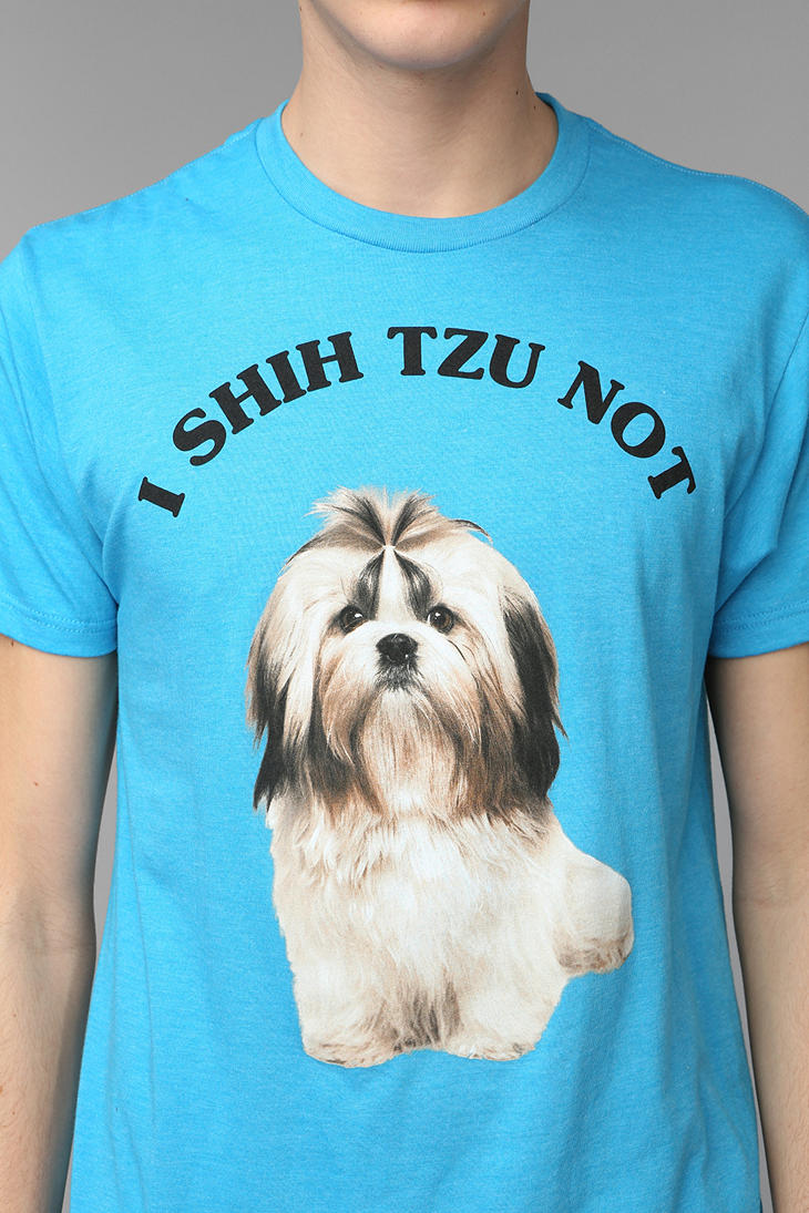 i shih tzu not shirt lyst urban outfitters i shih tzu not tee in blue for men 9011