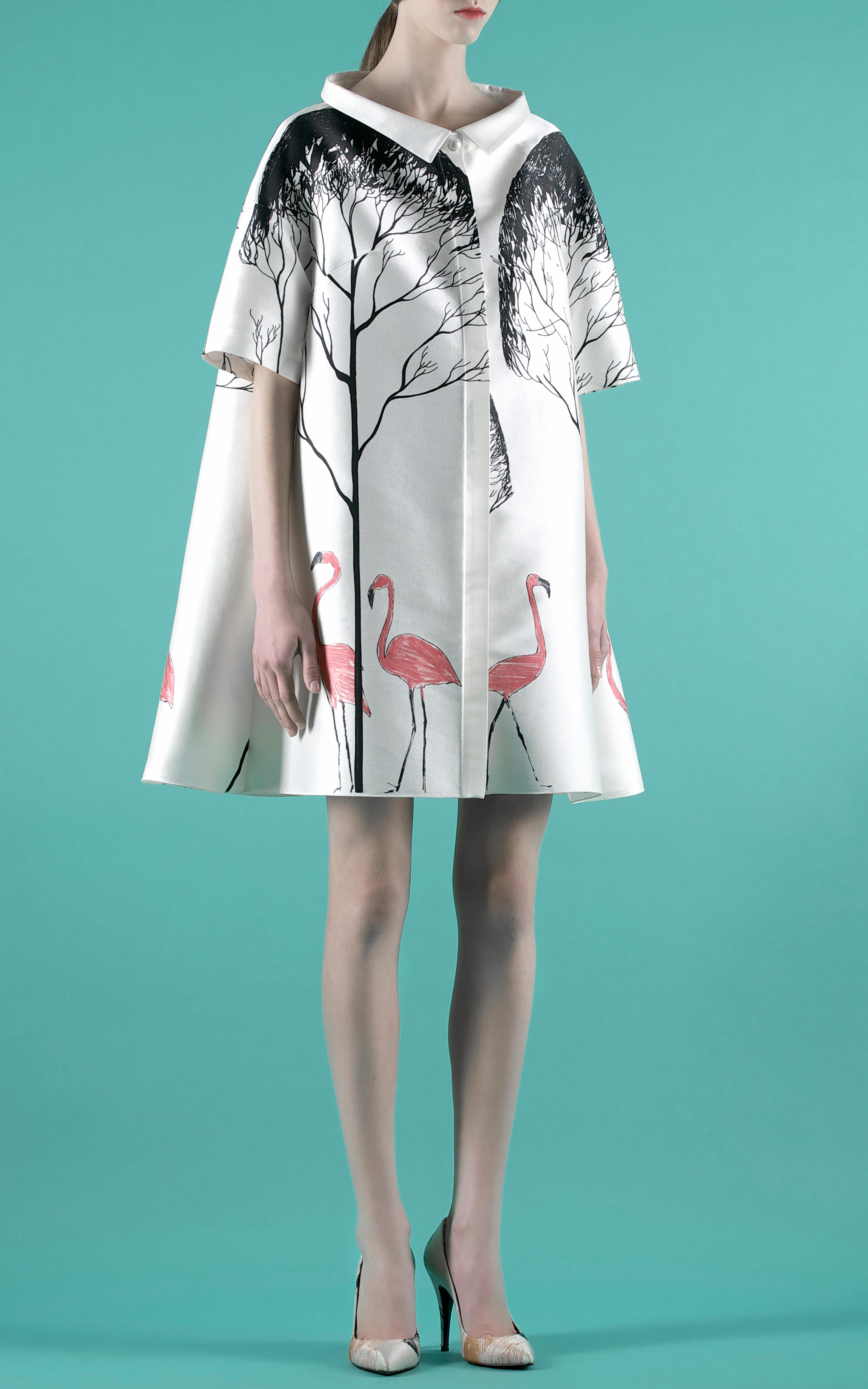 Lyst Vika Gazinskaya Blouson Dress With Flamingo Tree