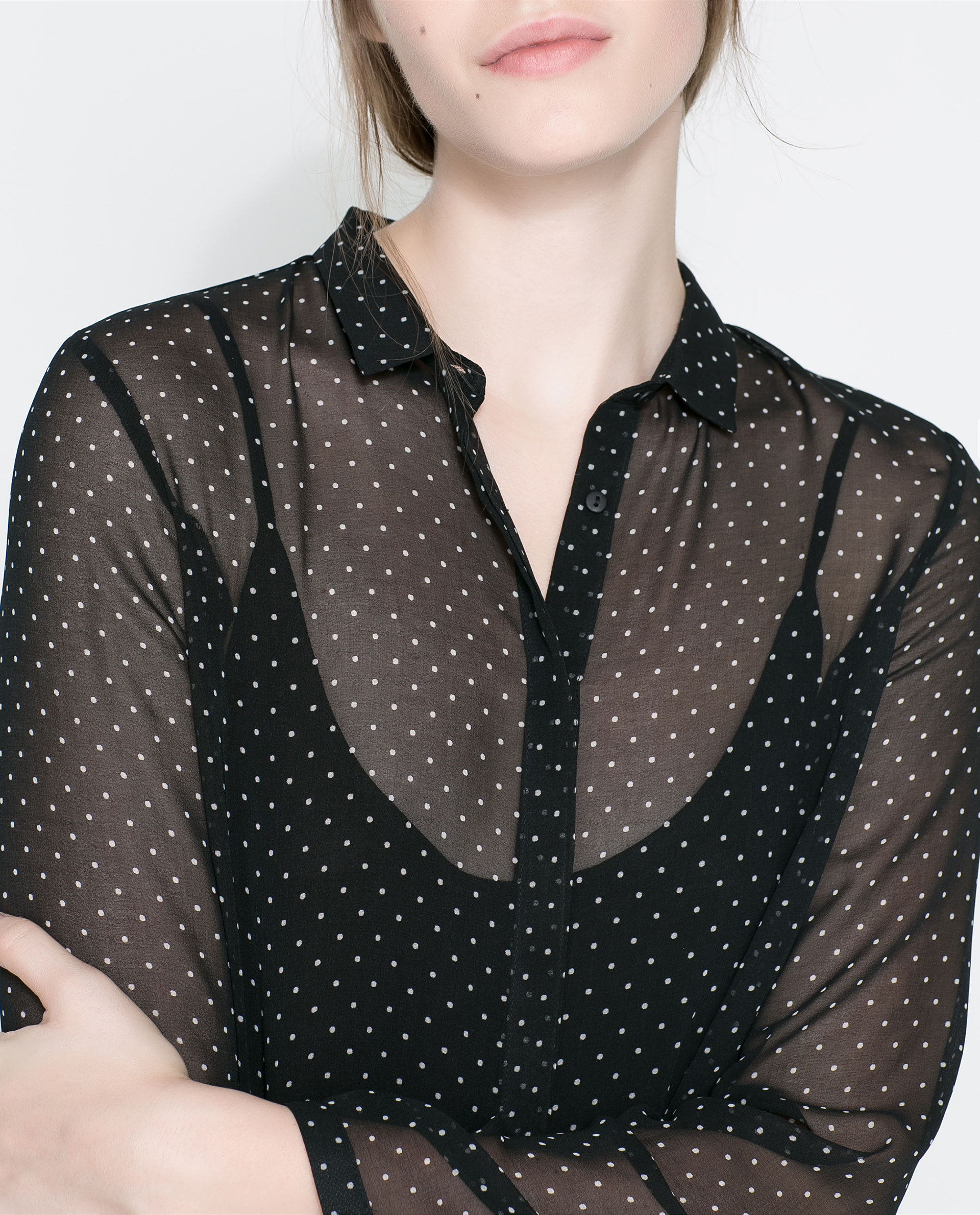 Zara Sheer Black Blouse 30