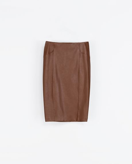 zara synthetic leather pencil skirt in brown leather lyst