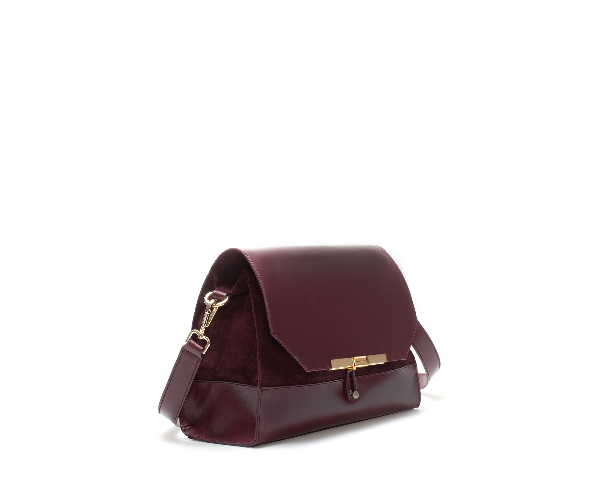 Zara Leather City Bag with Clasp Fastening in Purple | Lyst