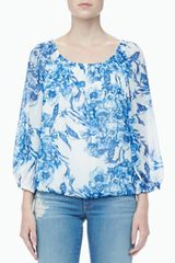Alice + Olivia Floralprint Peasant Top Alice Olivia - Lyst