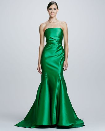 Badgley Mischka Collection Ruchside Strapless Mermaid Gown - Lyst