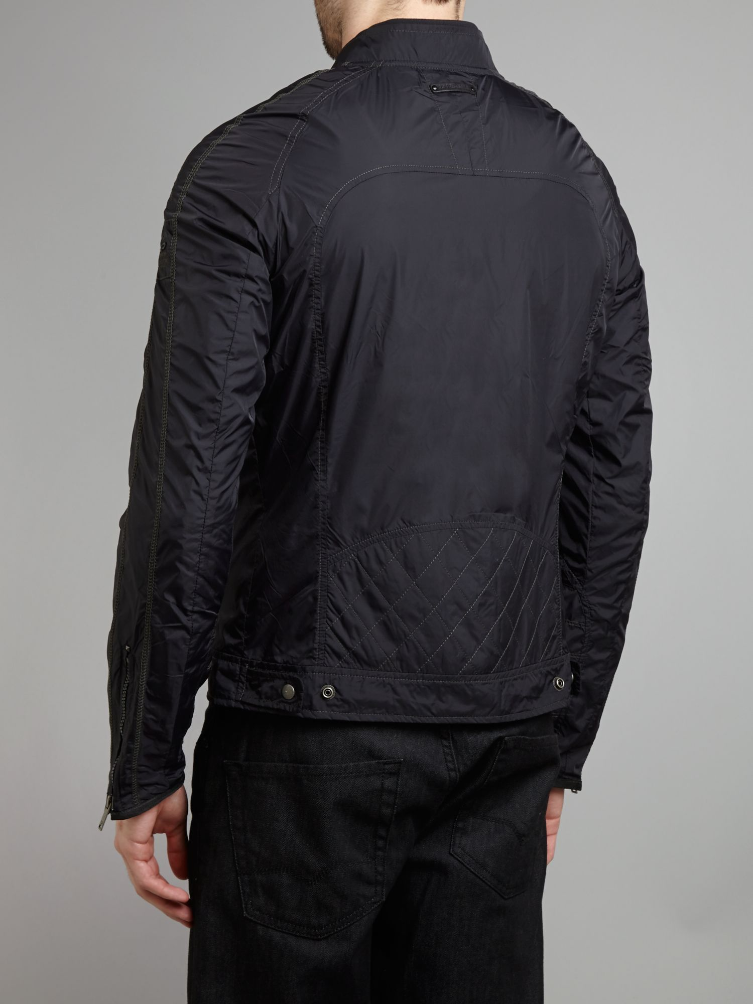 Lyst Diesel Nylon Biker Jacket In Black For Men