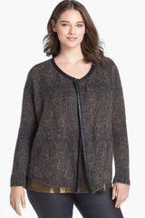 Eileen Fisher Leather Trim Jacket - Lyst