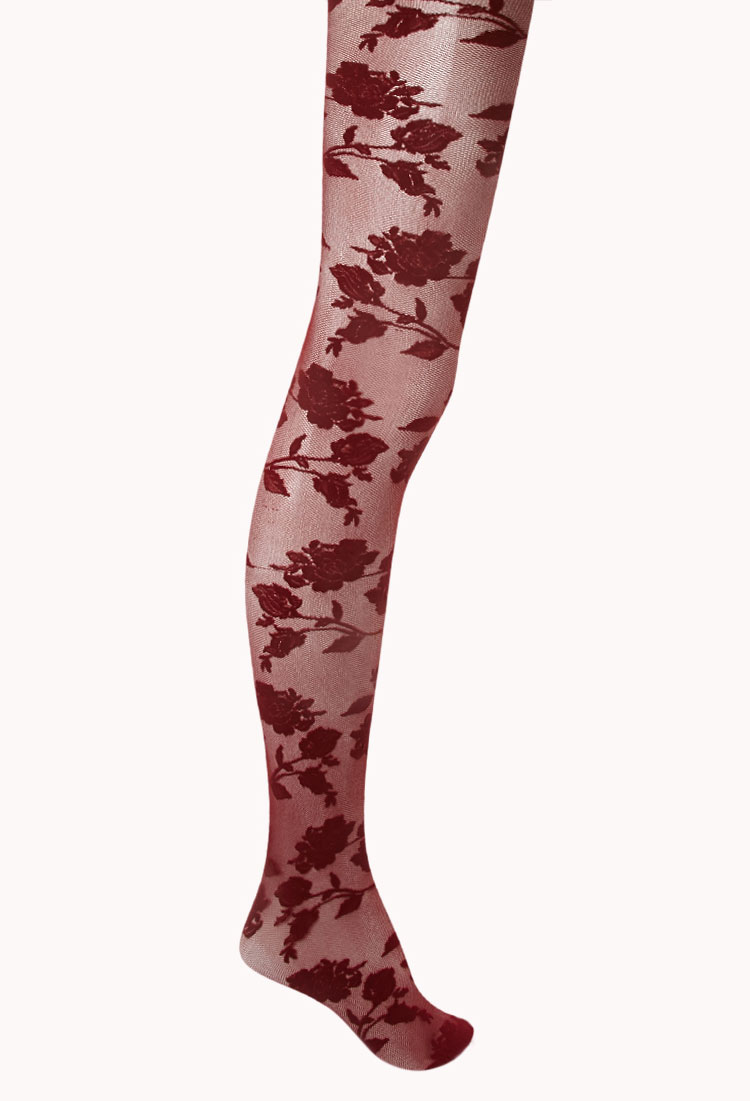 f4035645f Forever 21 Floral Tights in Purple - Lyst