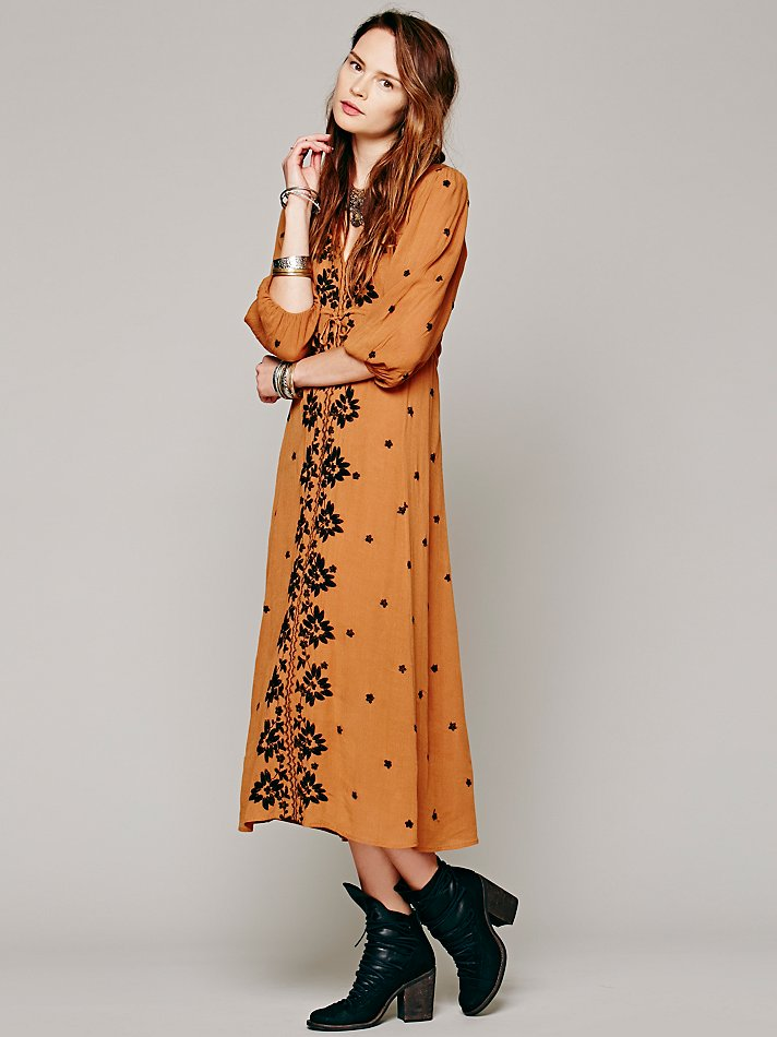 Free people embroidered fable dress in brown lyst