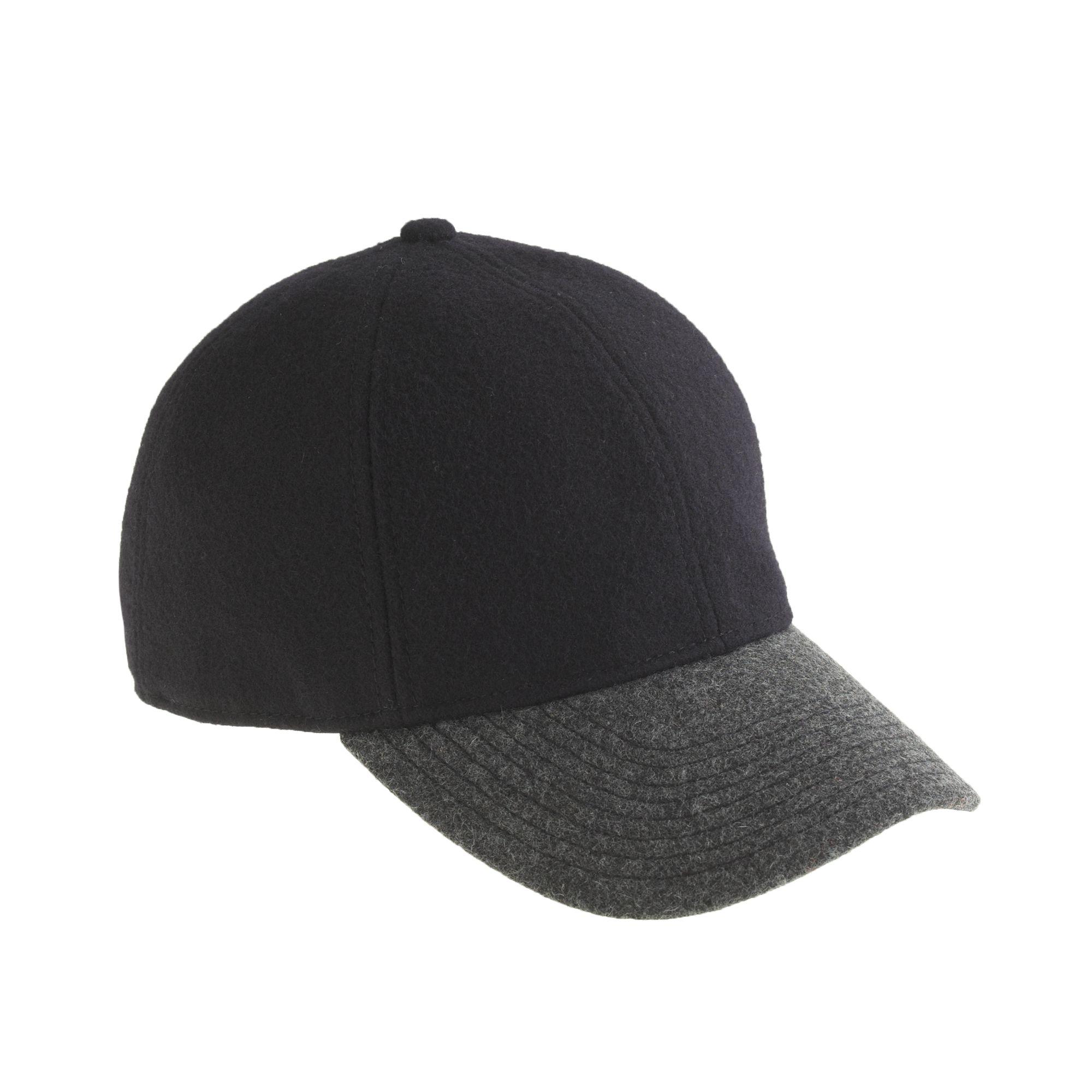 j crew colorblock wool baseball cap in black black