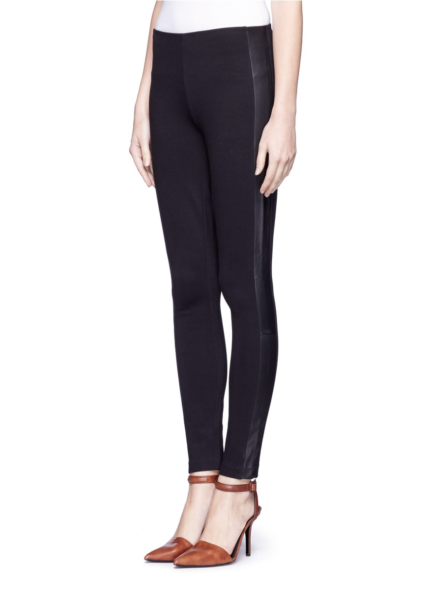 17975795e81fed J.Crew Leather Side Panel Pixie Pants in Black - Lyst