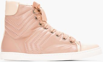 Lanvin Nude Stitched Leather High Top Sneakers - Lyst
